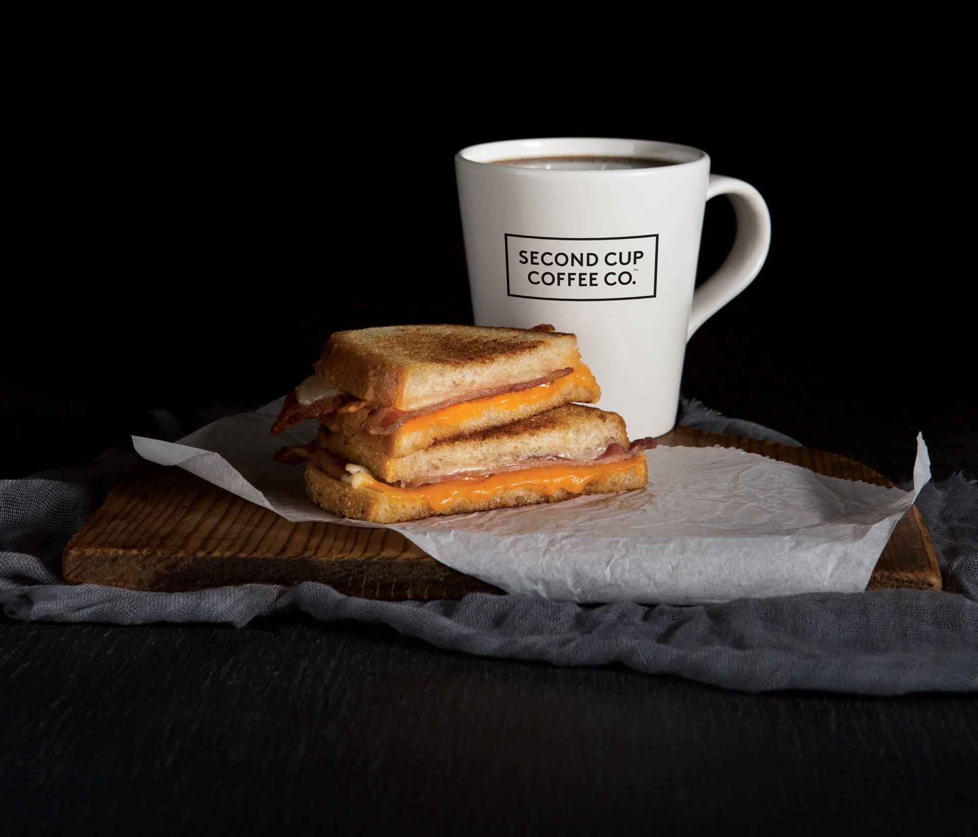 Food photography grilled cheese coffee