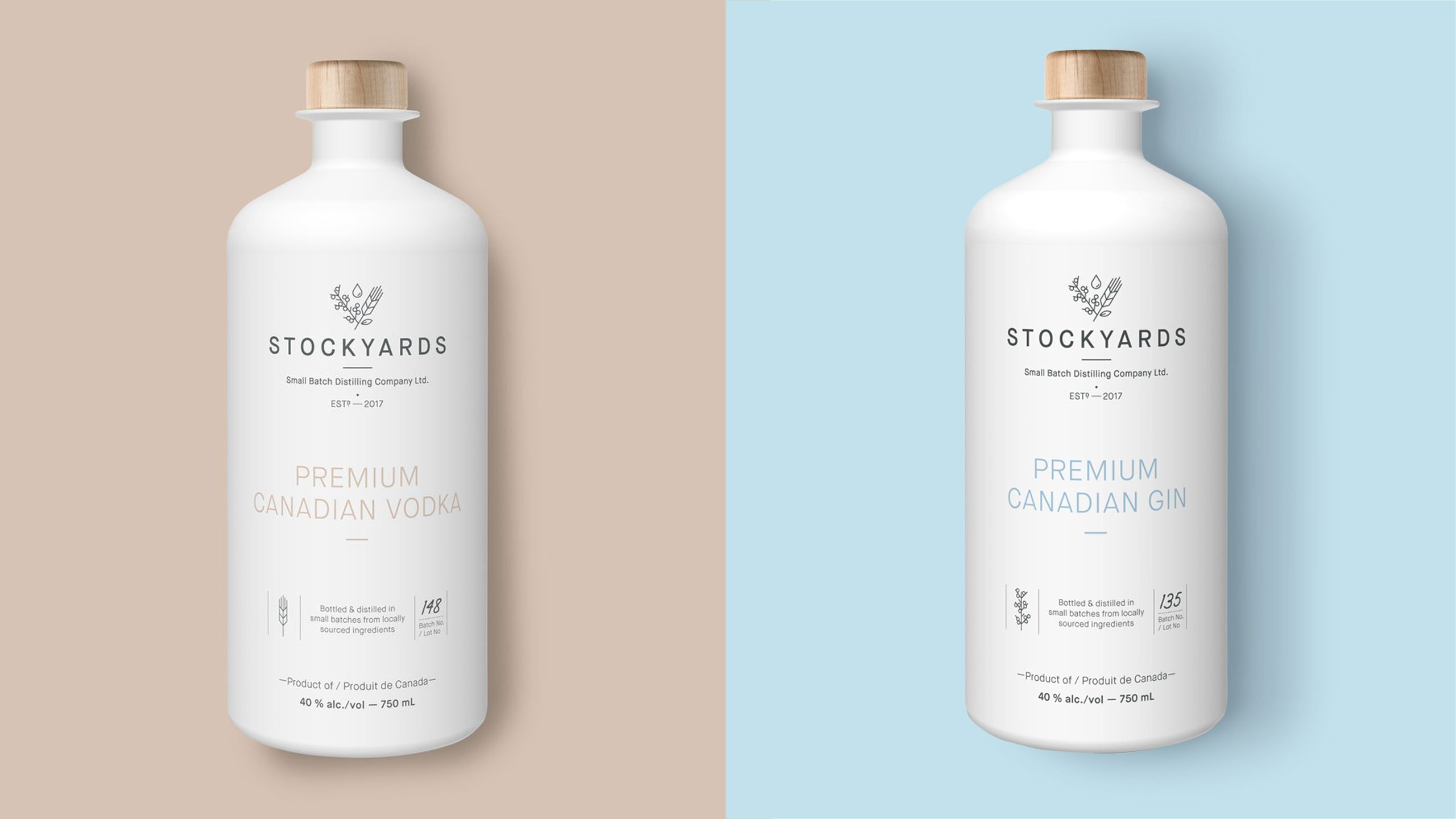 Stockyards gin and vodka branding and package design